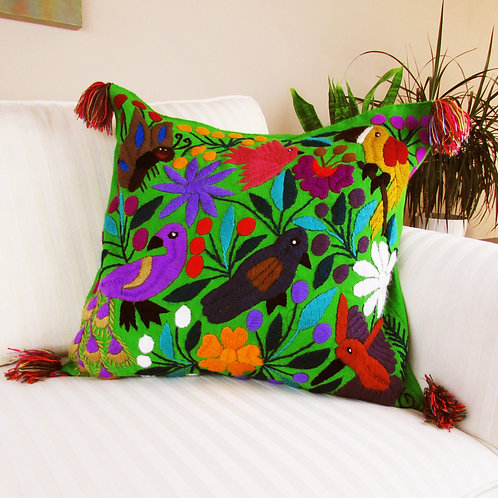 Mexican Pillow, hand embroidered pillow cover, maya textile, Mexican textile, mexican decor,