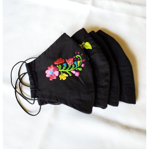 Oaxaca Facemask hand-embroidered, fabric black multicolor embroided, mexican facemask, covid, facemask blck