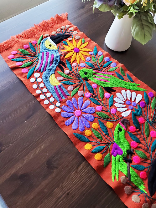 flowers, toucans, tapestry , mexican hand made, chedron table runner, mexican fabric, mexican tapestry, mexican embroidery