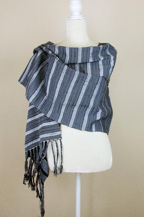 Mexican rebozo, Mexican Shawl, Handwove shawl, Shawl color gray, Maya textile, Mexican textile, Mexican apparel,