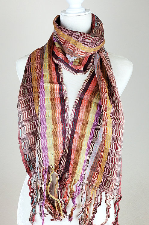 Scarf multicolor stripes, wove in a back strap loom. From Chiapas.