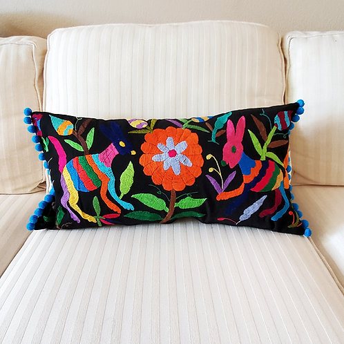 """Otomi Lumbar Pillow Cover 22""""x13""""multicolor embroidered on black manta"""