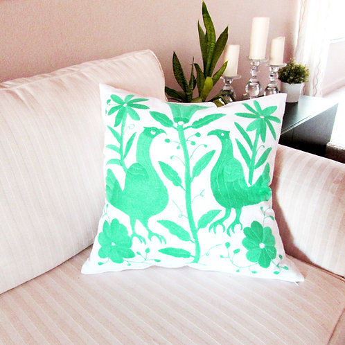pillow green aqua, pillow hand made, pillow, otomi pillow cover,  otomi fabric, pillow cover, mexican embroidery, mexican tex