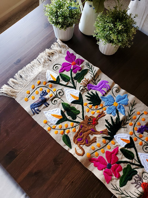 jaguars, flowers, mexican textile, mexican table runner, table runner beige, mexican hand embroidery,  mexican fabric, maya