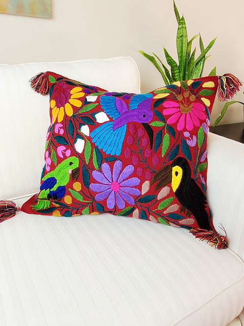 Chiapas Pillow Red tone with birds and flowers hand embroidered, Chiapas