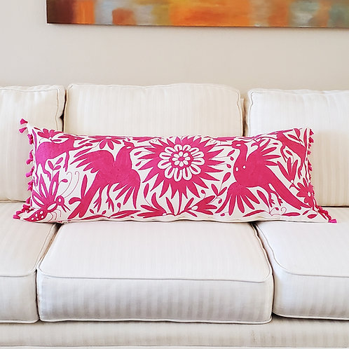 """Otomi Lumbar Pillow Cover 37""""x15"""" pink embroidered on manta fabric"""