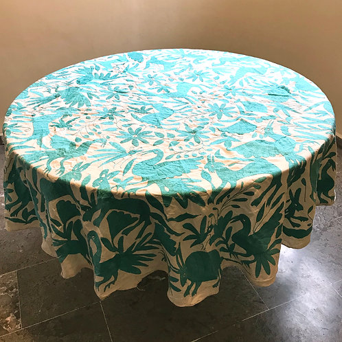 mexican hand-embroidery, mexican crewel embroidery, otomi green aqua tablecloth, mexican textiles, mexican fabric,tablecloth.