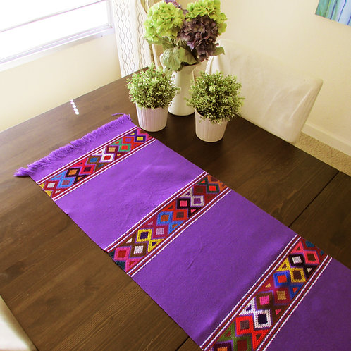 mexican hand woven, mexican tapestry, violet, table runner, mexican textile, mexican fabric, tapestry,  mexican woven