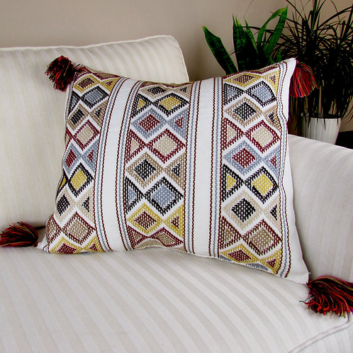 pillow mexican, mayan embroidery, mexican fabric, mexican handmade, mexican crewel  embroidered.