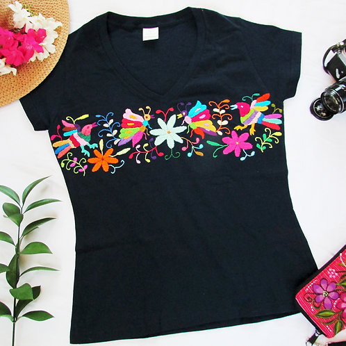 Otomi t-shirt Dark blue cotton and Multicolor hand embroidery V neck, fro