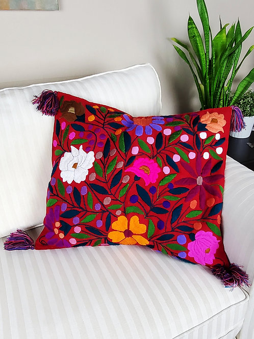 Chiapas Pillow Red tone flowers pattern hand embroidered