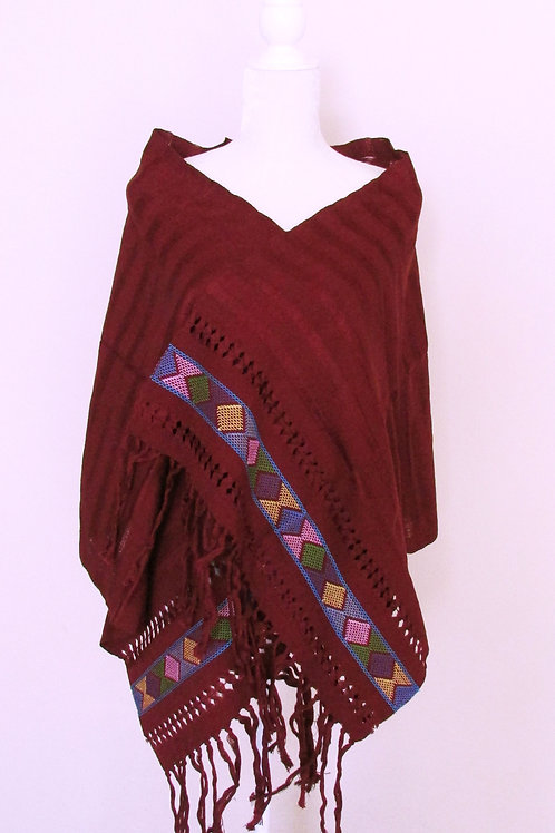 Rebozo or Shawl Red Wine tone hand-woven in cotton yarn. Chiapas