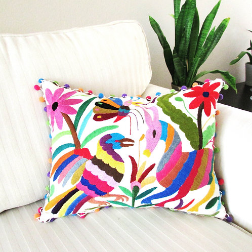 otomi pillow cover, mexican embroidery, otomi fabric, otomi embroidery, handembrodery pillow, mexian decor, mexican pillow,