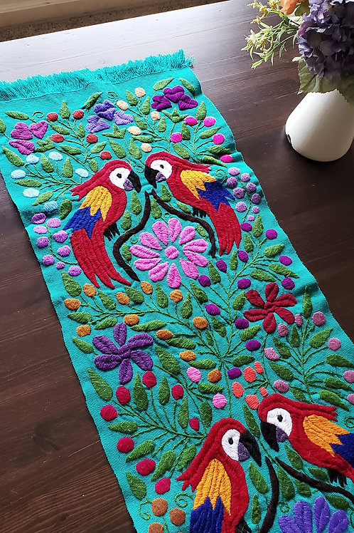 Table Runner, Green-aqua hand embroidered with animals, birds and f