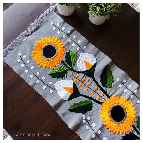 mexican textile, backstrap loom, hand made, hand woven, hand embroidery,sunflower, animals, birds, flowers, table runners