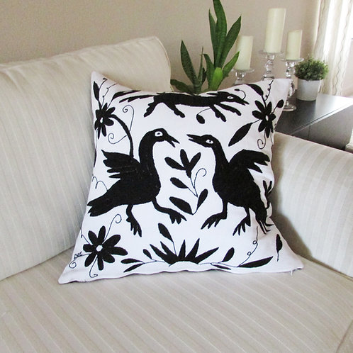 "Otomi square Pillow cover 18""x18"" black hand embroidered on white fabric"