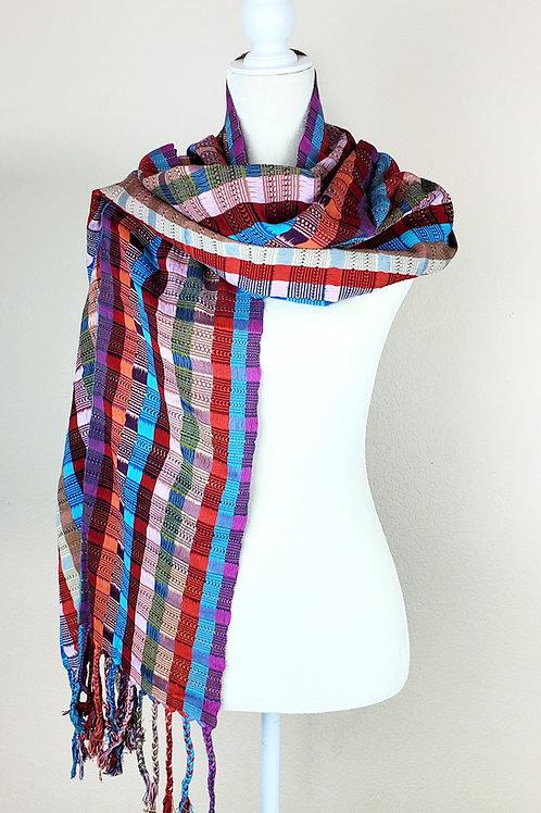 Rebozo or Shawl Multicolor, wove in backstrap loom,