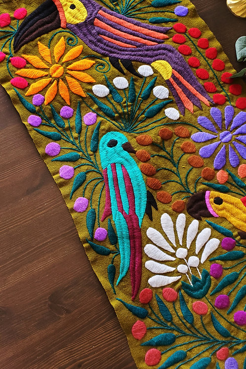 Table Runner Olive green, Hand-embroidered, with Toucans, flowers and