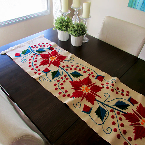 poinsenttia table runner, mexican fabric, mexican crewel embroidered, mexican handmade.