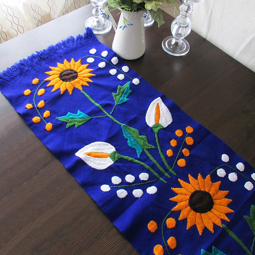 sun flower, mexican textile, mayan textile, table runner blue king, mexican crewel embroidery, mexican hand made, mexican fab