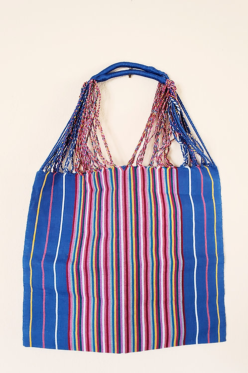 Chiapas tote handmade wove in Backstrap loom, loom. tote, blue, mexican textile, mexican woven, hand made