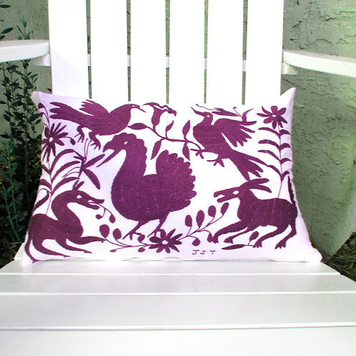 "Otomi Lumbar Pillow Cover 20""x13"", purple embroidered on white cotton fabric."