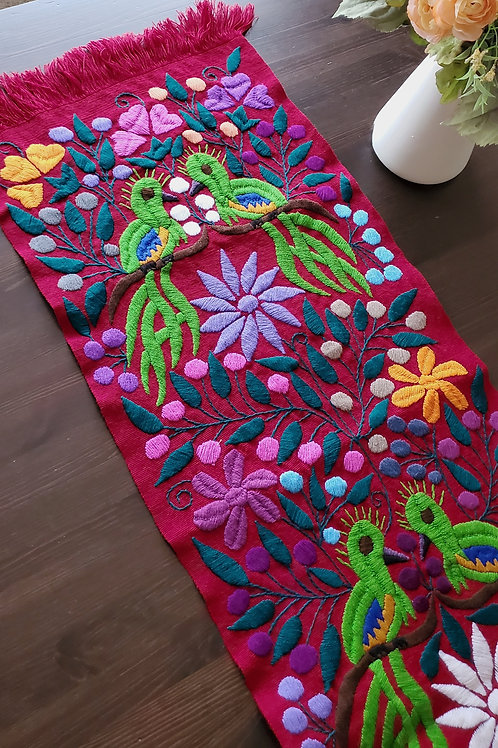 Mexican decor, Mexican table runner, mexican embroidered, mexican linen, maya textile, quetzal tapestry,