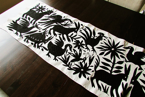 table runner black, otomi embroidery, mexican crewel embroidered, mexican fabric, mexican embroidery, otomi table runner, bla