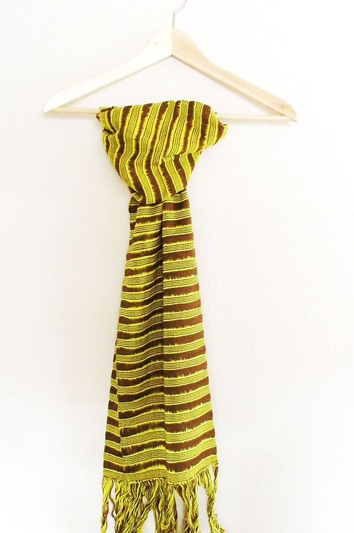 scarf yellow and brown, chiapas, mexican fabric, mexican embroidery.