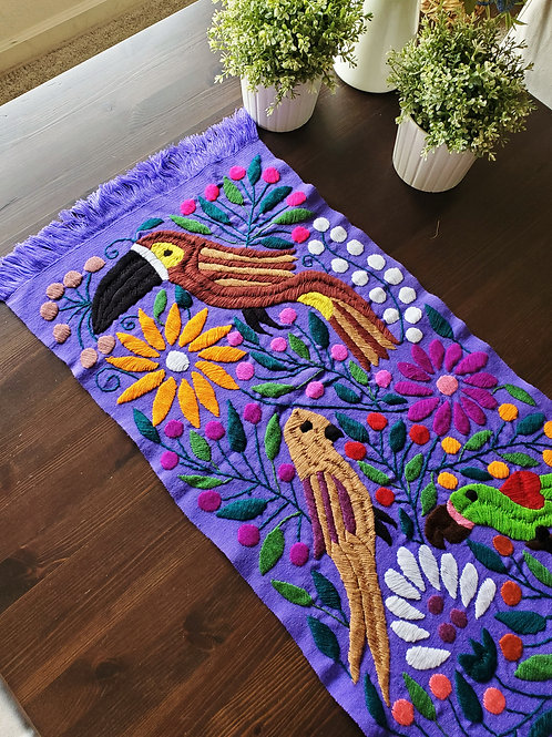 Table Runner violet Hand-woven embroidered, with Toucans and fl