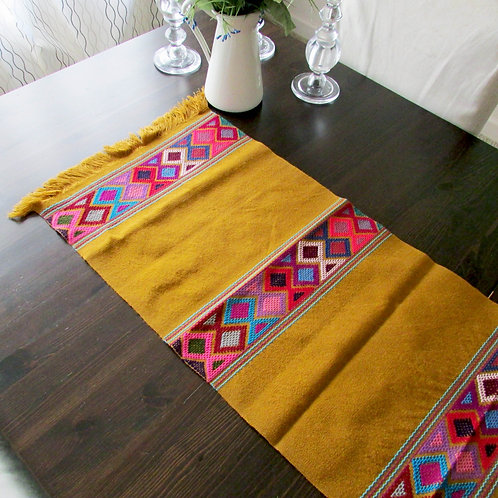 Mexican table runner, mexican decor, maya textile, mexican textile, table runner ocher, mexican handmade