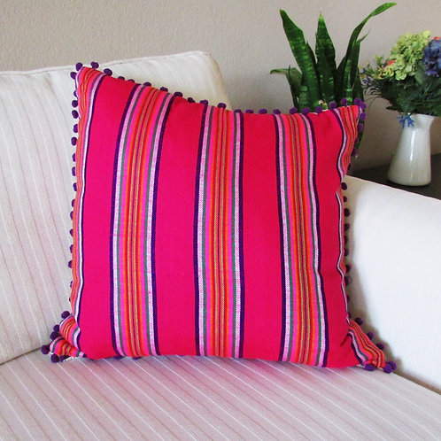 """Pillow cover 18""""x18"""" Mexican fabric pink with multicolor lines and purple pompom"""
