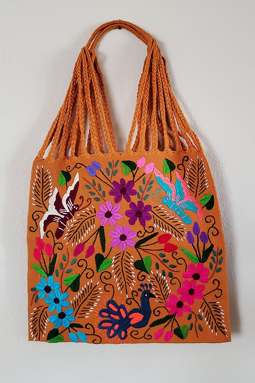 Chiapas tote color ocher handmade wove in backstrap loom bag hand embor