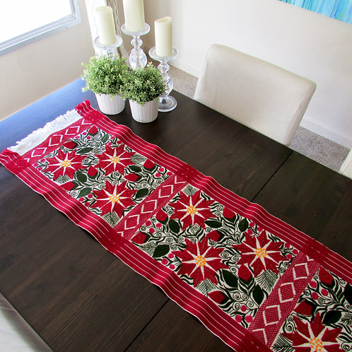 table runner woven, mexican fabric, poinsettia handmade, mexican crewel embroidered.