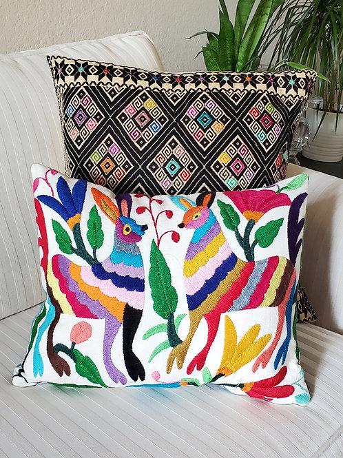 "Otomi Pillow Cover Lumbar 16x14"" multicolor on natural color cotton fa"