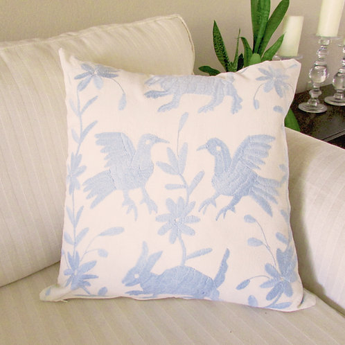 mexican fabric, mexican crewel embroidered, pillow cover, light blue, mexican pillow, mexican textile, pillow hand made, otom