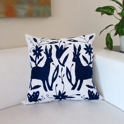 "Otomi pillow cover 22""x22"" Dark Navy blue color hand embroidered on white fabric"