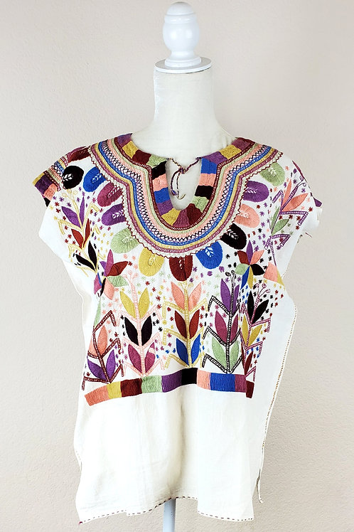 Mexican blouse, Mexican apparel, Mexican embroidered, blouse handmade, Mexican Fabric, Maya Textile, Maya blouse