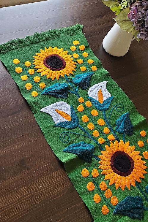 Sunflower Table Runner Green handmade hand embroidered,