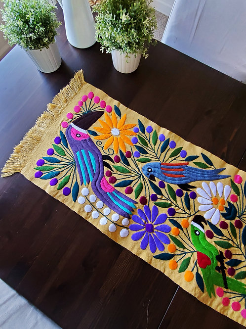 mexican embroidered, mexican tablerunner, mexican fabric, mexican aphlostery fabric, toucan runner, mexican crewel work, maya