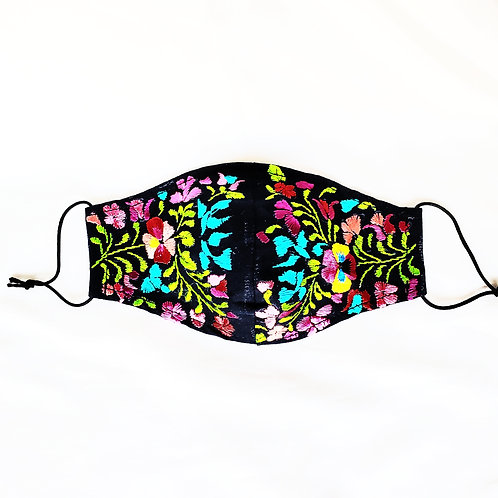 Oaxaca Facemask hand-embroidered, fabric black and multicolor hand embroidery