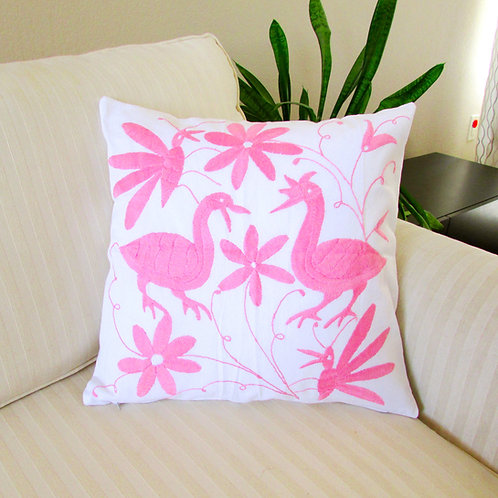 Otomi Pillow Cover light pink on white fabric.
