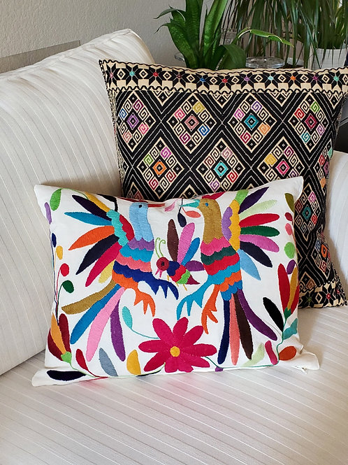 """Otomi Pillow Cover Lumbar 16x14"""" multicolor on natural color cotton fabric"""