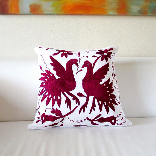 """Otomi Pillow cover 20""""x20"""" Red wine embroidered on white fabric."""