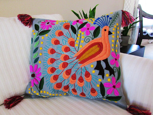 Mexican Pillow Cover, Maya pillow cover, Mexican embroidery, pillow gray, mexican hand made, chiapas fabric, mexican textile,