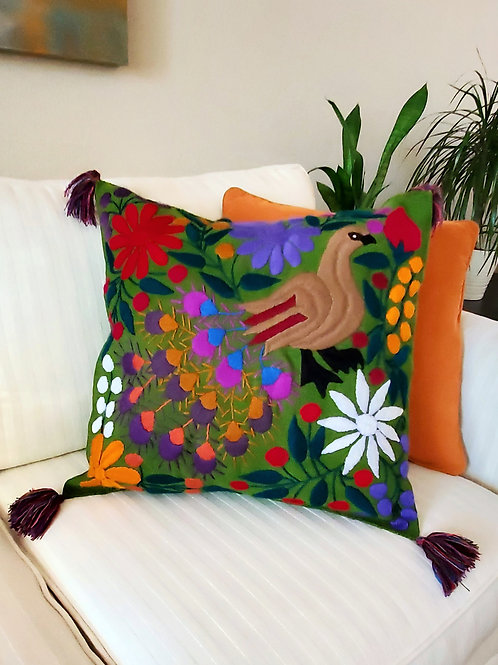 """Copia de Pillow cover 20""""x20"""" Green color and multicolor Peacock  hand embroided"""