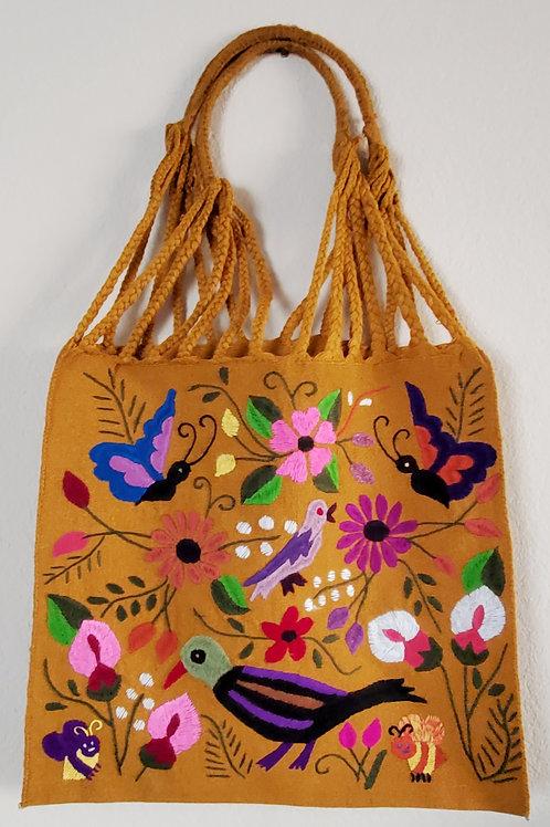 Chiapas tote color ocher handmade wove in backstrap loom bag hand embor