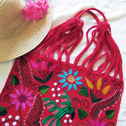 Mexican bag, red bag, Mexican embroidered bag, Mexican tote, animal pattern, Mexican textile, Maya Bag, Birds pattern bag,