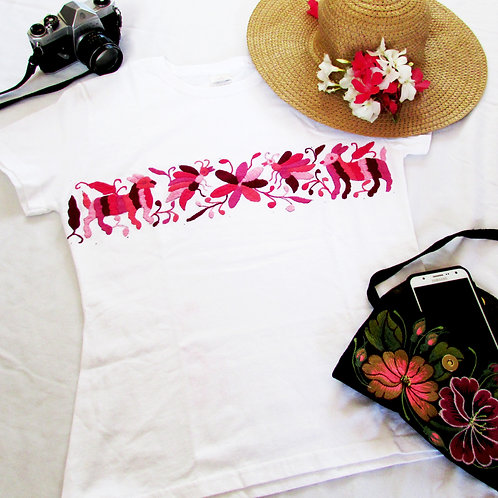 Otomi t-shirt white cotton and Pink tones hand embroidery, fromTenango