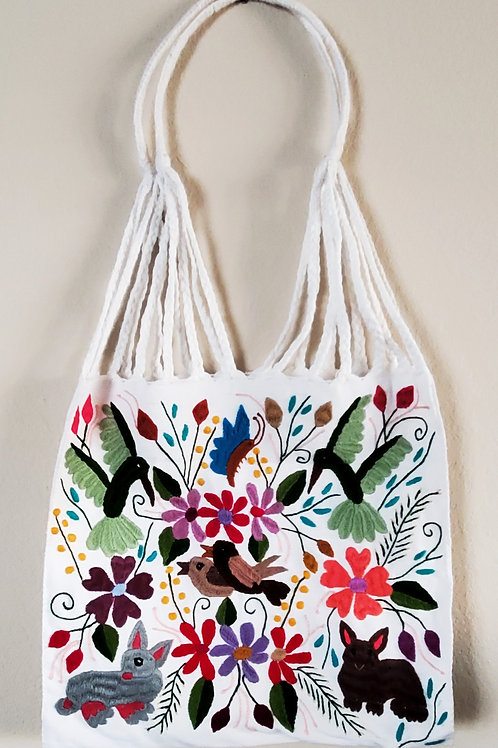 Mexican embroidered, mexican bag, mexican textile, maya embroidered bag, animal patter bag, mexican hand-embroidered, maya